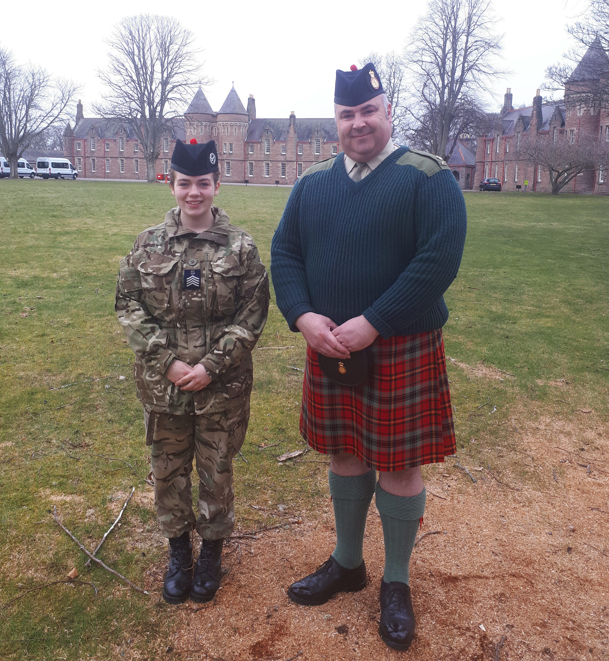 Sgt Georgi McMinn and Major Ross Munro at Cameron Barracks   Air Cadet becomes first Senior Drum Major.
