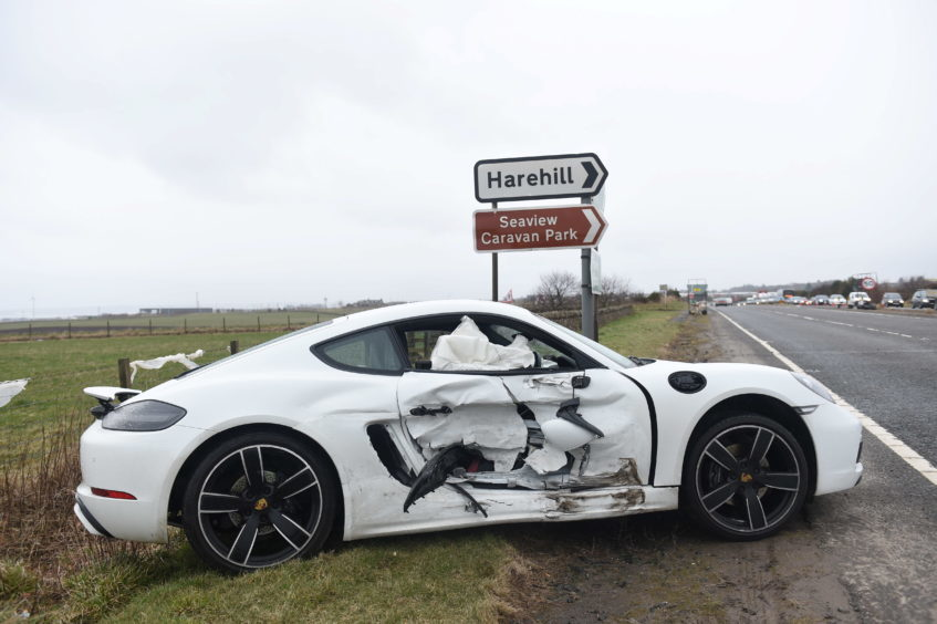 Pictured is the Porsche involved in a two car rtc on the A90 near the junction with Tarbothill Farm Cottages, Aberdeen.