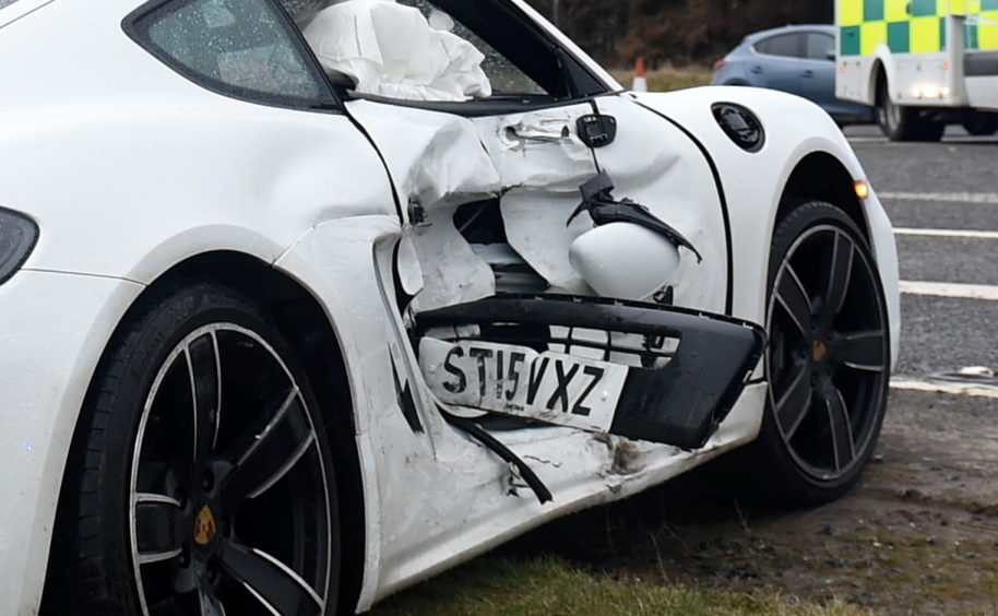 Pictured is the two car rtc on the A90 near the junction with Tarbothill Farm Cottages, Aberdeen. Pictured is the bumper of the Citreon stuck in the door of the Porsche.
