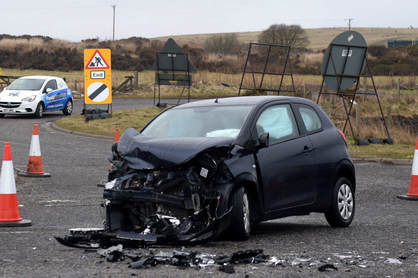 Pictured is the Citreon involved in a two car rtc on the A90 near the junction with Tarbothill Farm Cottages, Aberdeen.