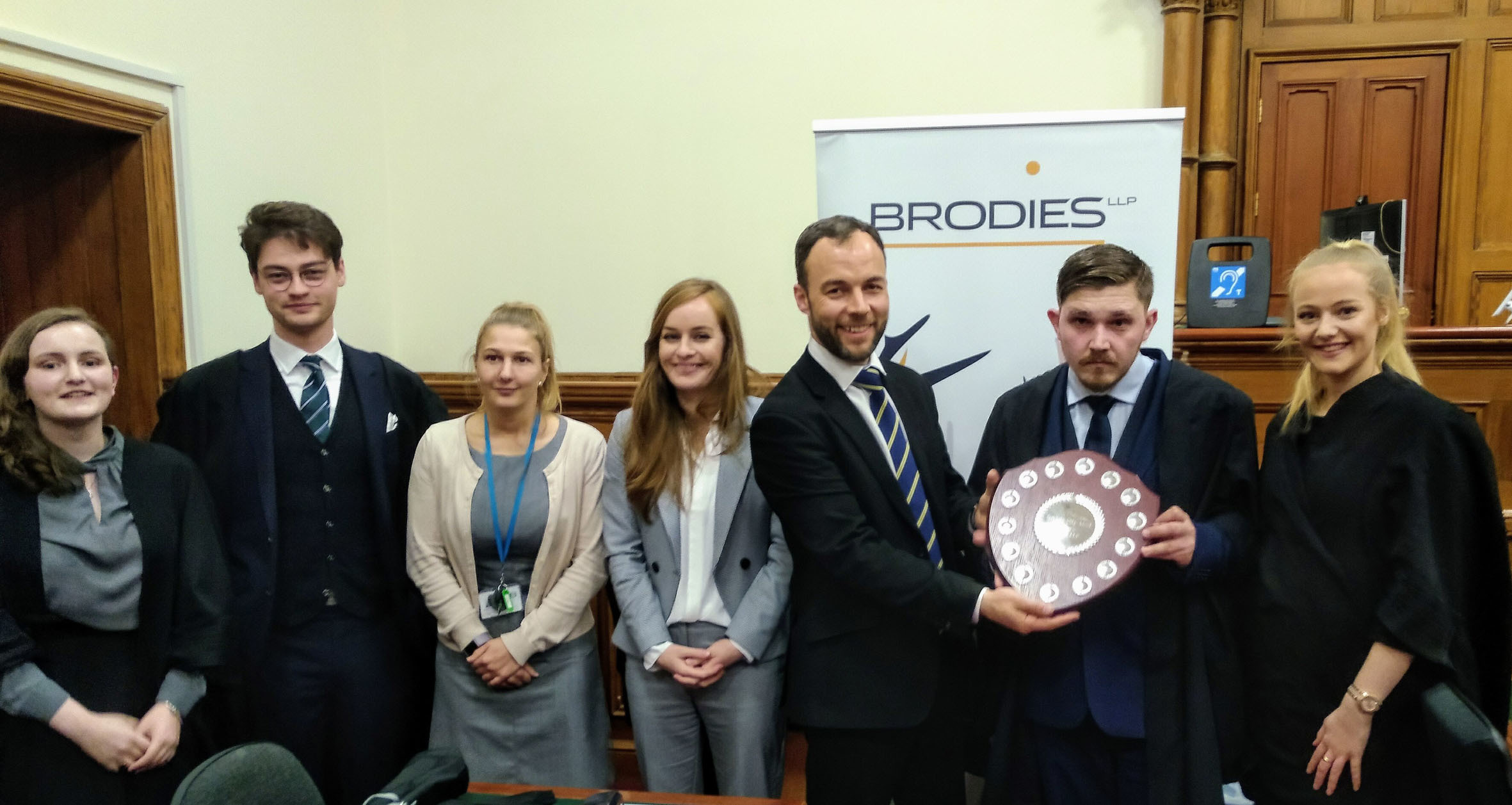 Left to right: Aberdeen Uni's Naomi Henderson and Hal Ledgerwood, Brodies LLP's Aimee Godfrey, Sarah Polson and Malcolm Mackay and RGU's winning team Alex Rae and Justine Anderson.