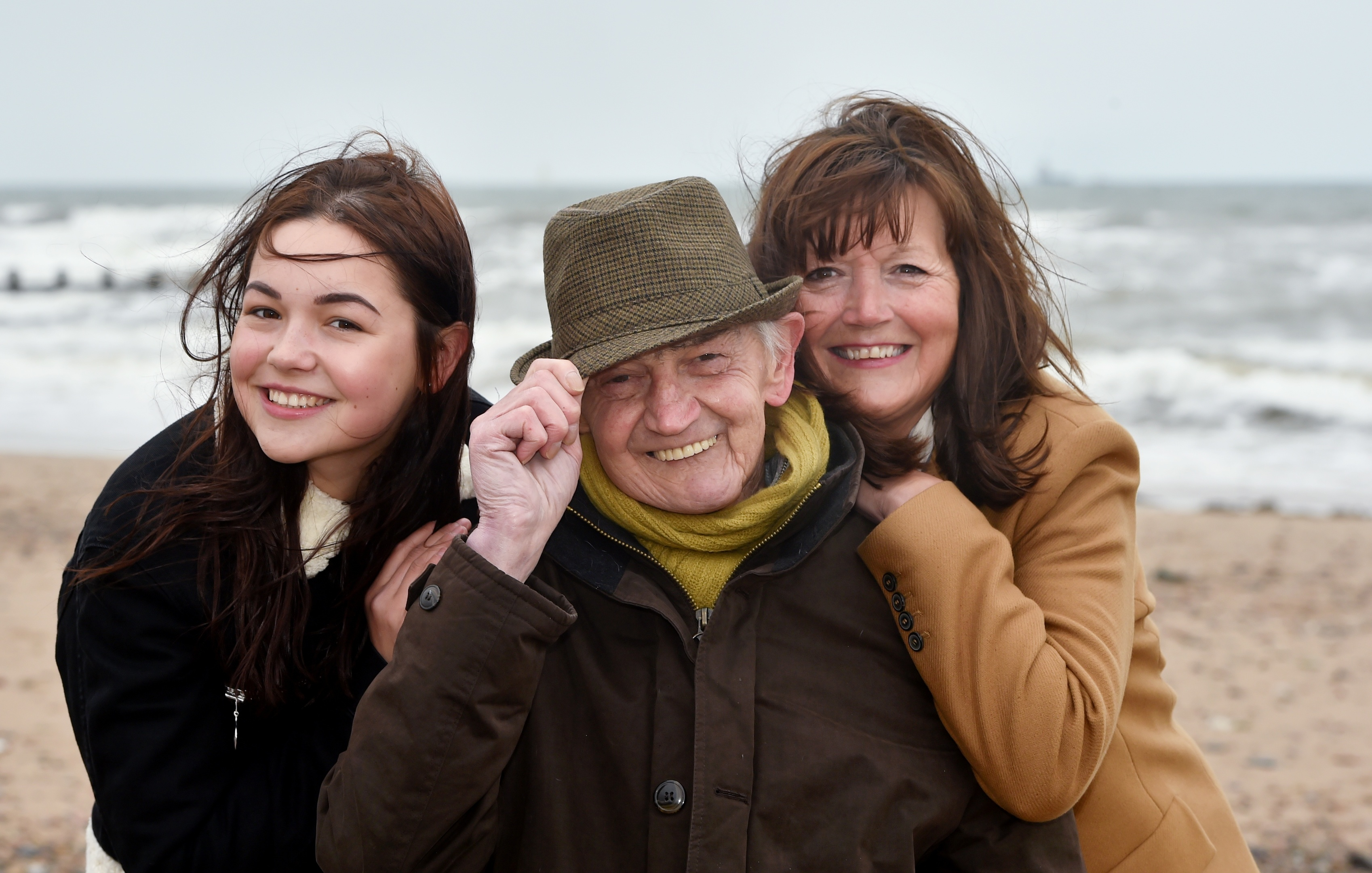 Brave model Joe McGunnigle with daughter Karen Sedgwick and grandaughter Cassie McGunnigle. Picture by Colin Rennie.