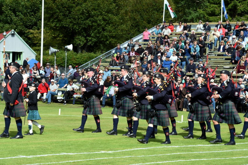 Braemar Games: In the picture is the Grampian and district Pipes and Drums band