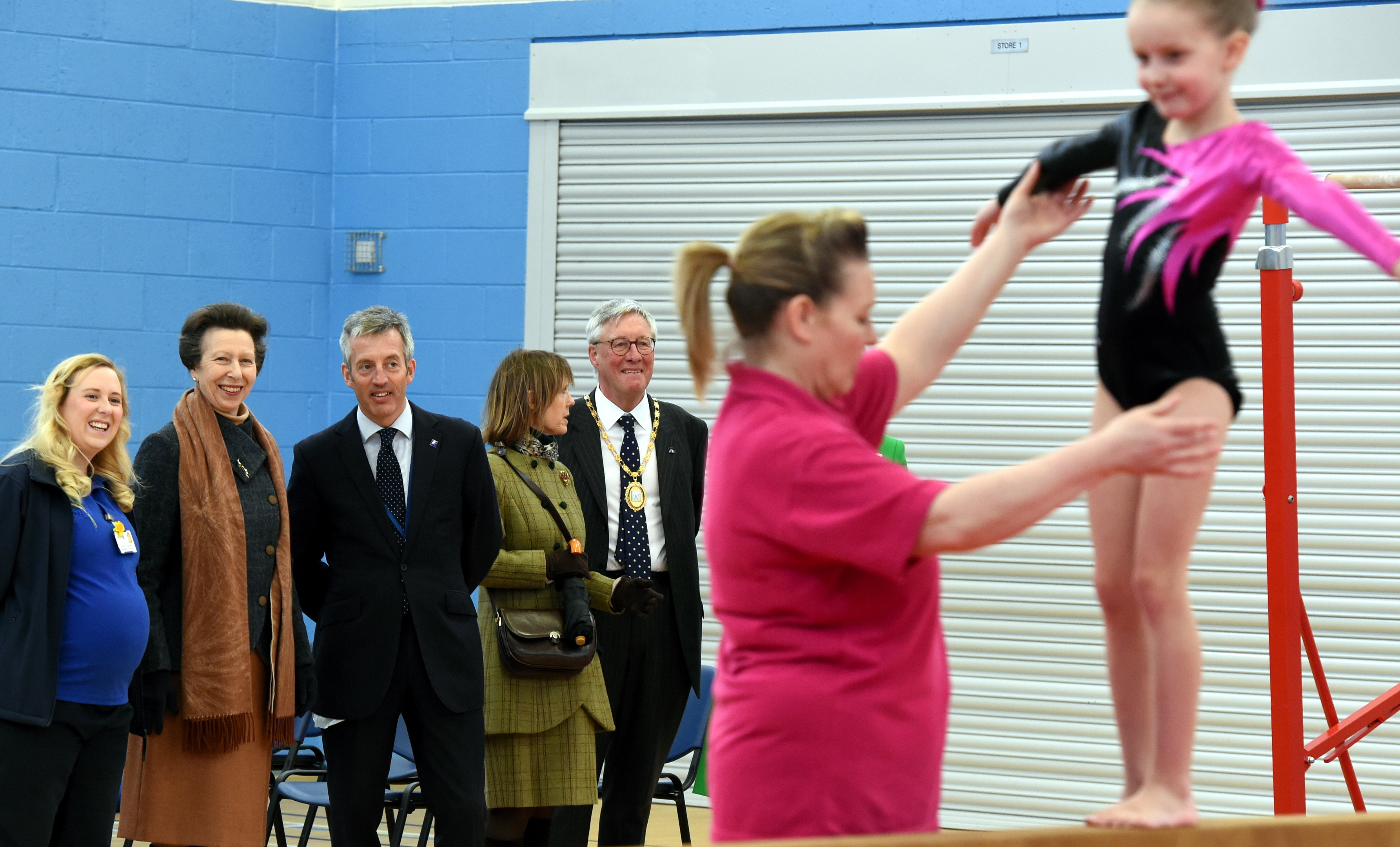 HRH The Princess Royal, formally opens the MacDuff Community and Sports centre, Duff Street, MacDuff. In the picture are from left: Lori Connell, duty officer, Princess Anne, Jim Savege, Chief executive, Mrs David, Bowes-Lion, lady in waiting and Provost Bill Howatson.  Picture by Jim Irvine.