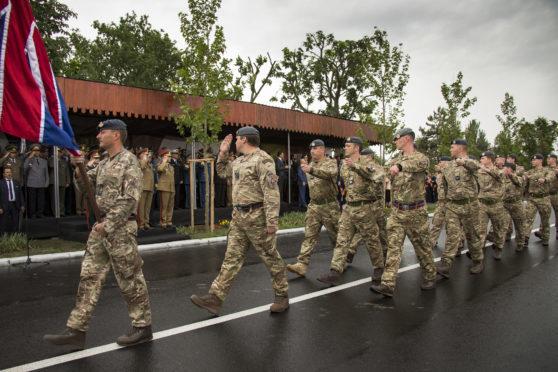 Members of 135 Expeditionary Air Wing, Royal Air Force on parade at Heroes Day, Buzău.
