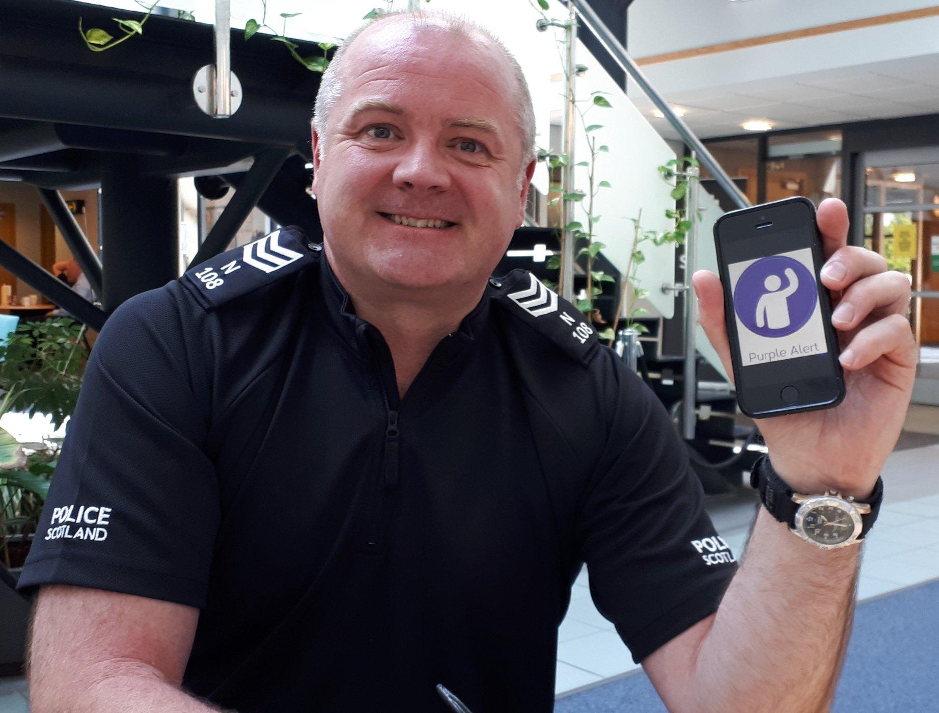 Sergeant David Campbell is encouraging people to download Purple Alert app.