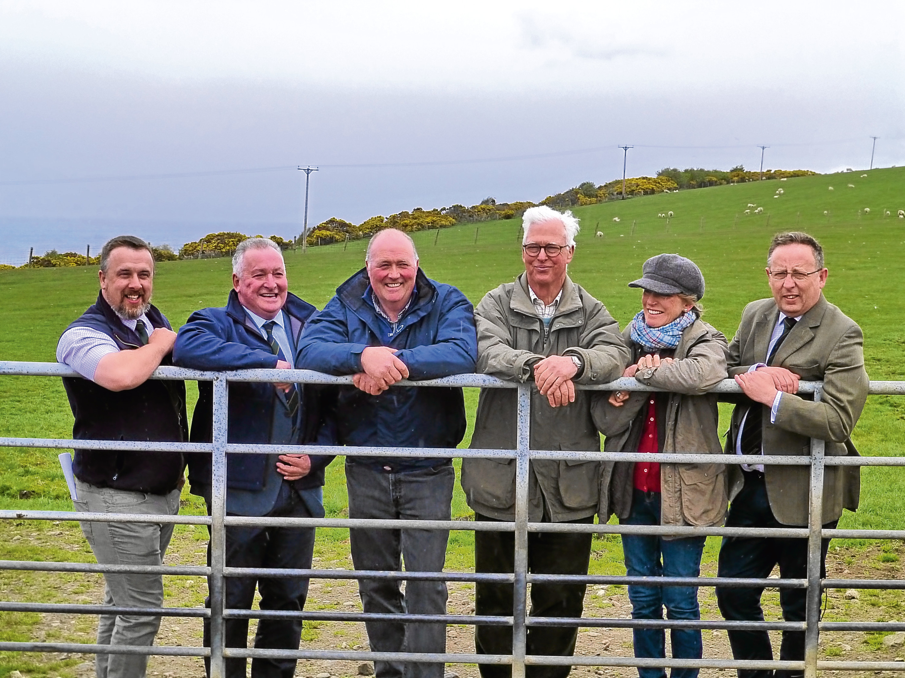 From left to right - NSA Scotland chairman, John Fyall, organising committee chairman, George Allan, farm manager Andrew Maclean, host farmers, Robert and Caroline Dalrymple, and event organiser, Euan Emslie
