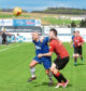 Paul McManus, left, gets to grips with Cowdenbeath's Harvey Swann at Harlaw Park on Saturday. The Cove striker will be hoping for better luck in front of goal this weekend