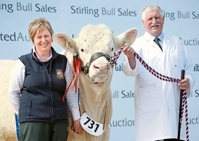 Father and daughter duo Jim and Alison Muirhead of Firhills Farm, near Abroath, with their Charolais champion, Firhills Majestic