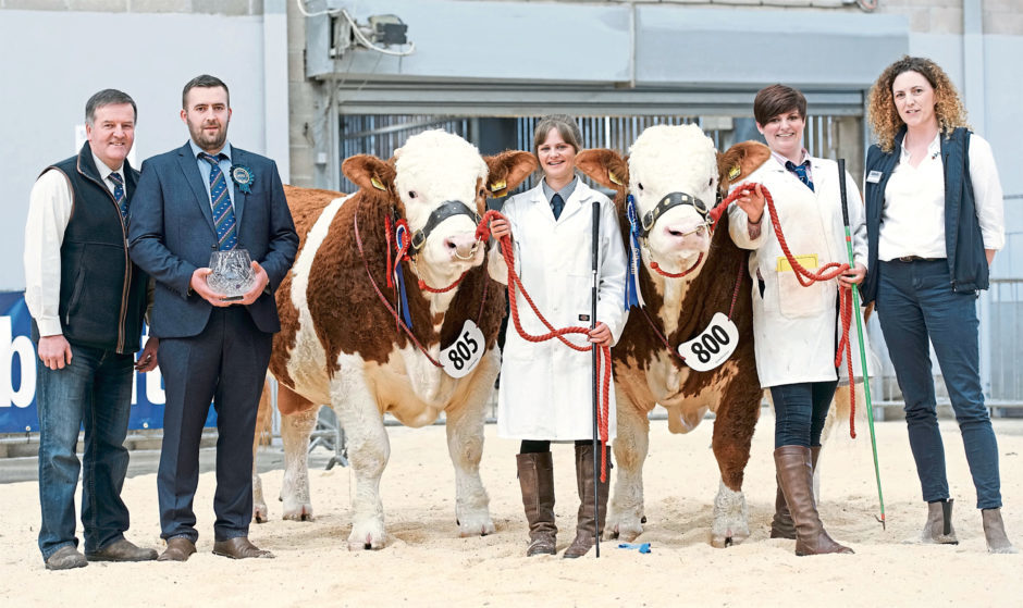 The Stronach family from Berryleys Farm, Grange, Keith, with their champion and reserve champion Simmental bulls