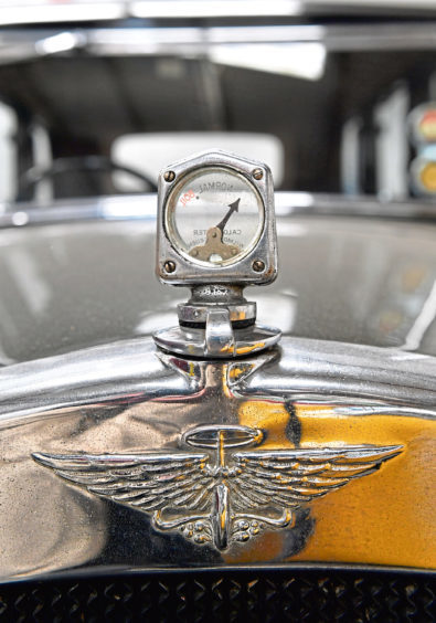 The emblem on the front of the 1934 Austin 12