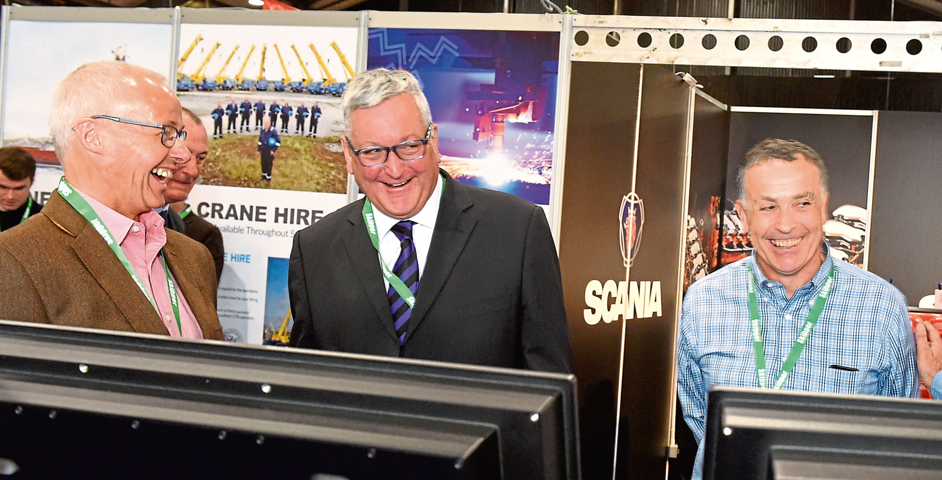 Ian Gatt, left, in a lighter moment with Fishing Minister Fergus Ewing at the AECC. Photograph by Jim Irvine