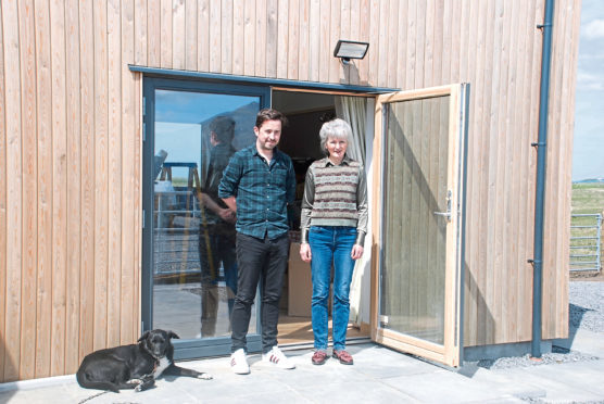 Beatrix Wood Stephen Mulholland and Nipper the dog outside the studio