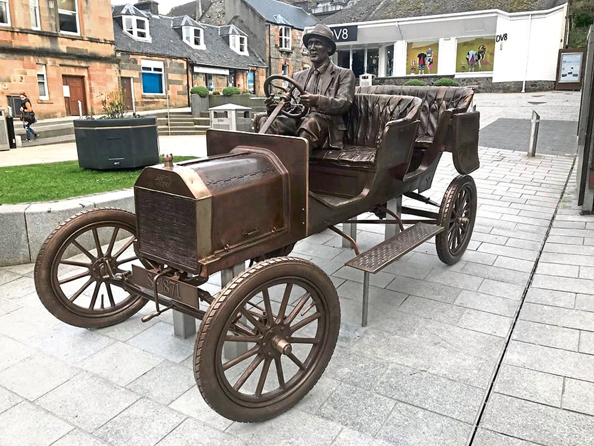 The Ford Model T statue in Fort William.