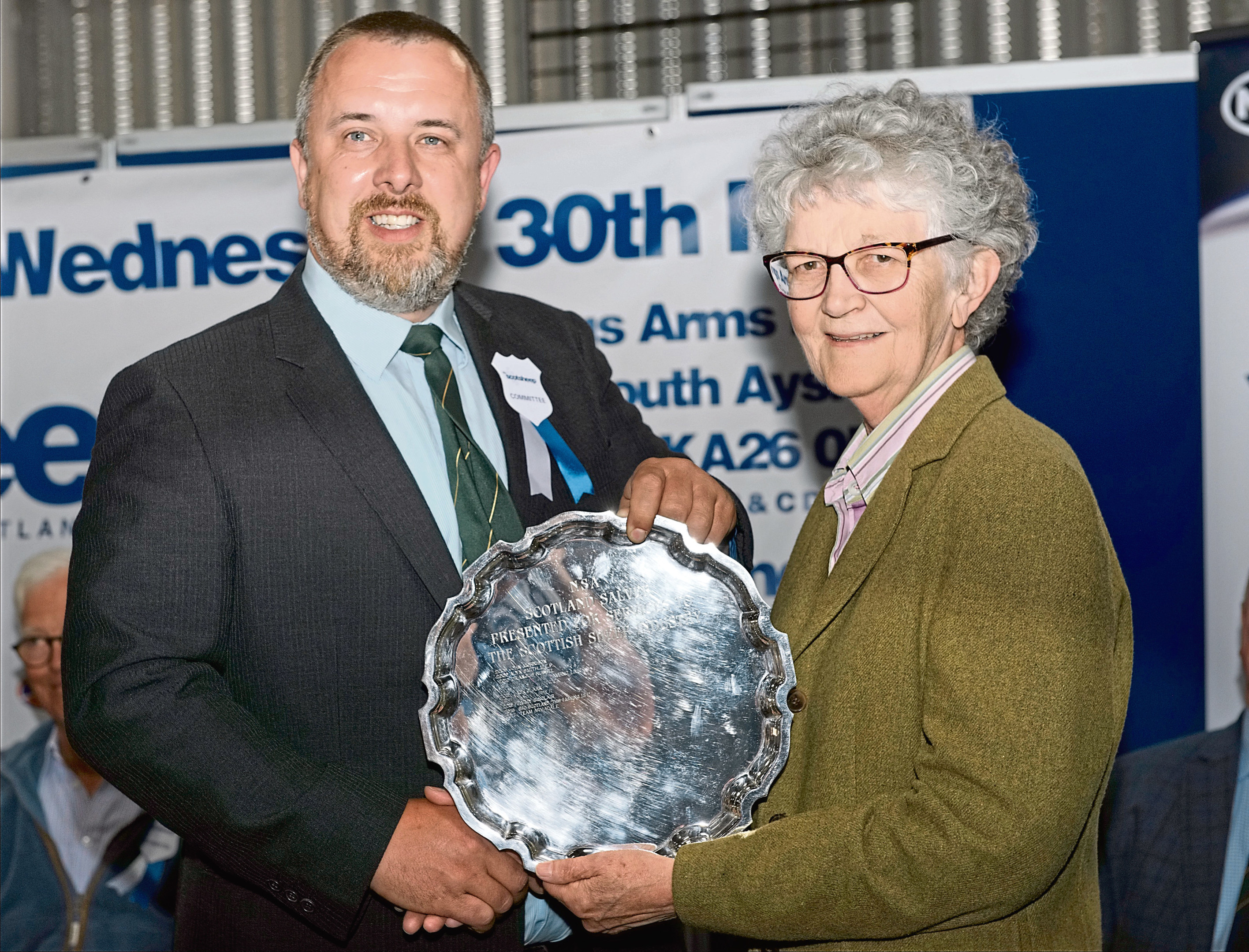 John Fyall presents Maimie Paterson with the Silver Salver