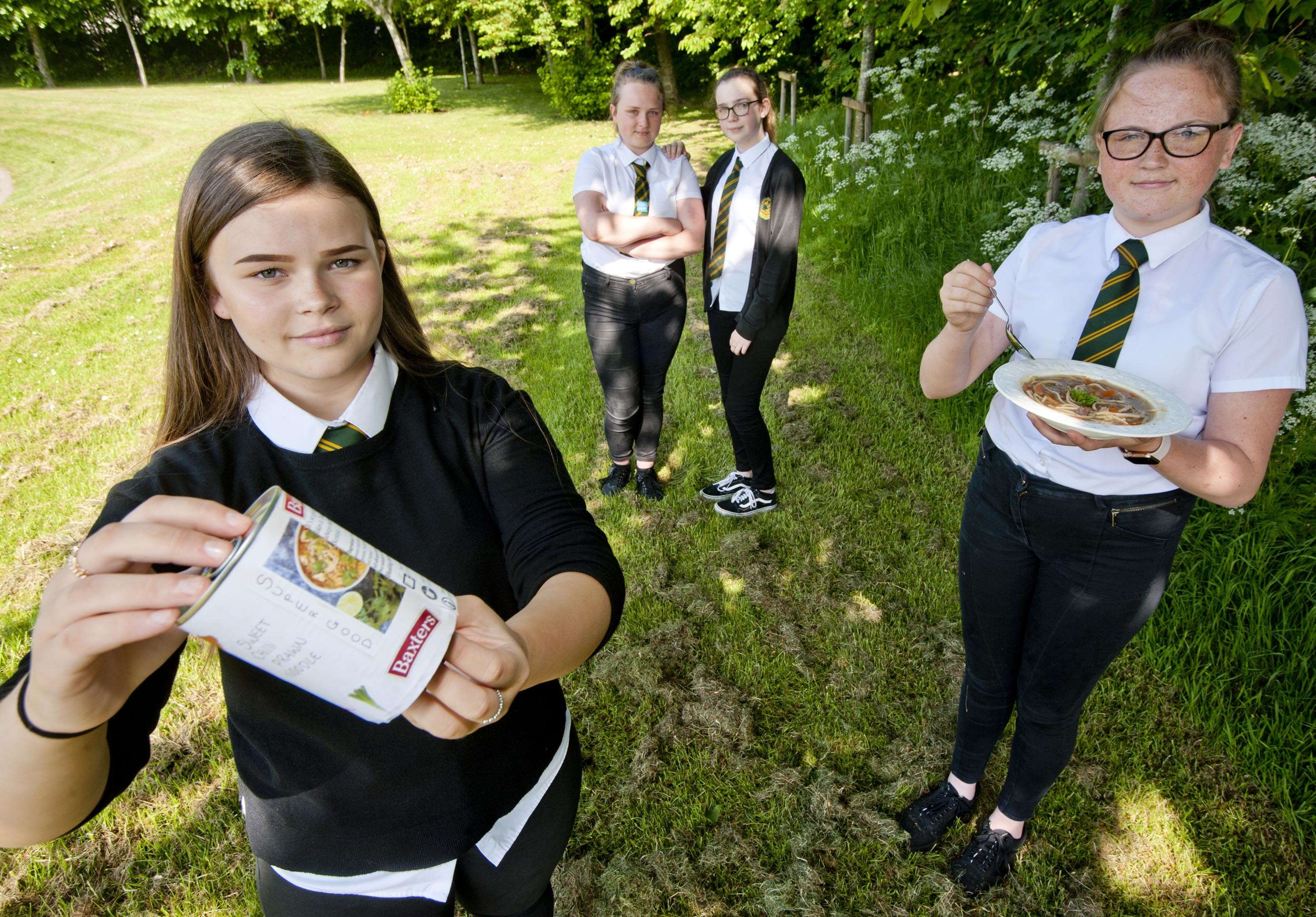 Milne's High School, students were tasked to create recipes for Baxters. Pictured: Freya Hughson 14, Emma Morrison 14, Dionne Campbell 13 and Megan Keddie 14.