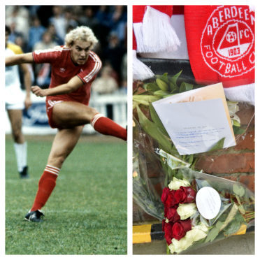 Neale Cooper in his playing days and tributes left for him at Pittodrie.