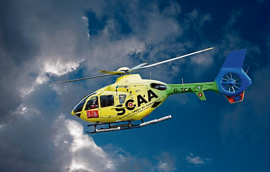 The air ambulance brings a casualty from a road traffic accident to Aberdeen Royal Infirmary