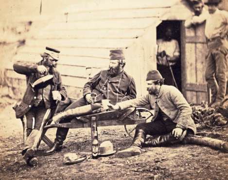 Hardship in the Camp, an albumenised salt print by Roger Fenton (1819-69), MacKinnon Collection