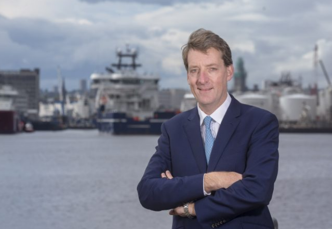 Andy Samuel, chief executive of the Oil and Gas Authority, beside Pocra Quay, Aberdeen