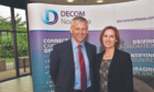 Tom Leeson, Decom North Sea interim CEO and Pauline Innes, who is collecting the Contribution to Decommissioning Award on behalf of Mark Bayman