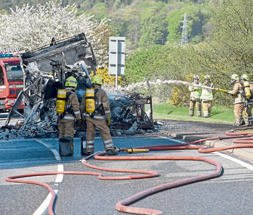 Flames ripped through the 60-seater coach reducing it to a shell within 40 minutes of the fire starting