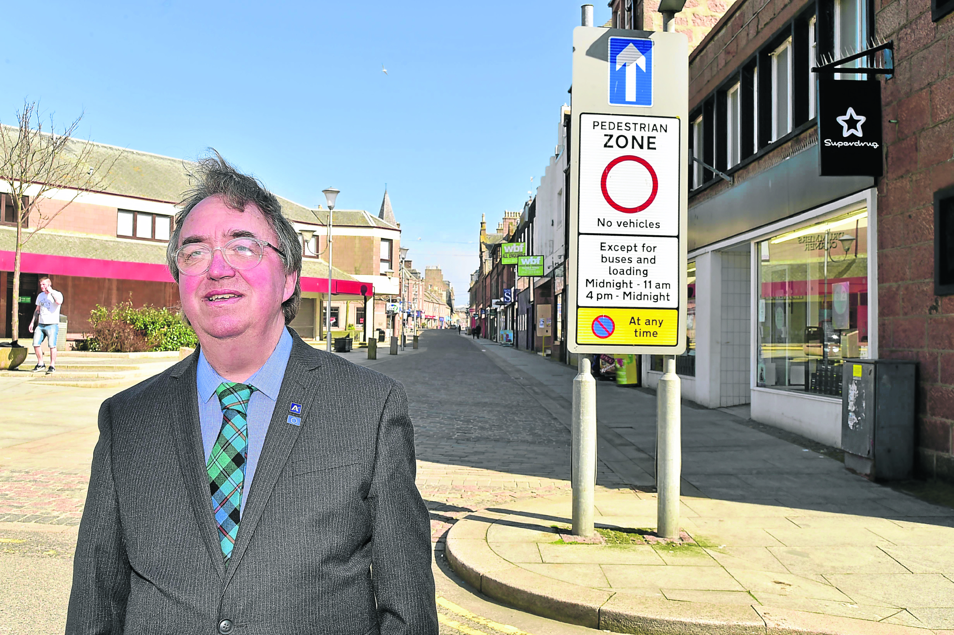 Councillor Stephen Calder at Drummers Corner in Peterhead where efforts to enforce the pedestrian zone will be stepped up.