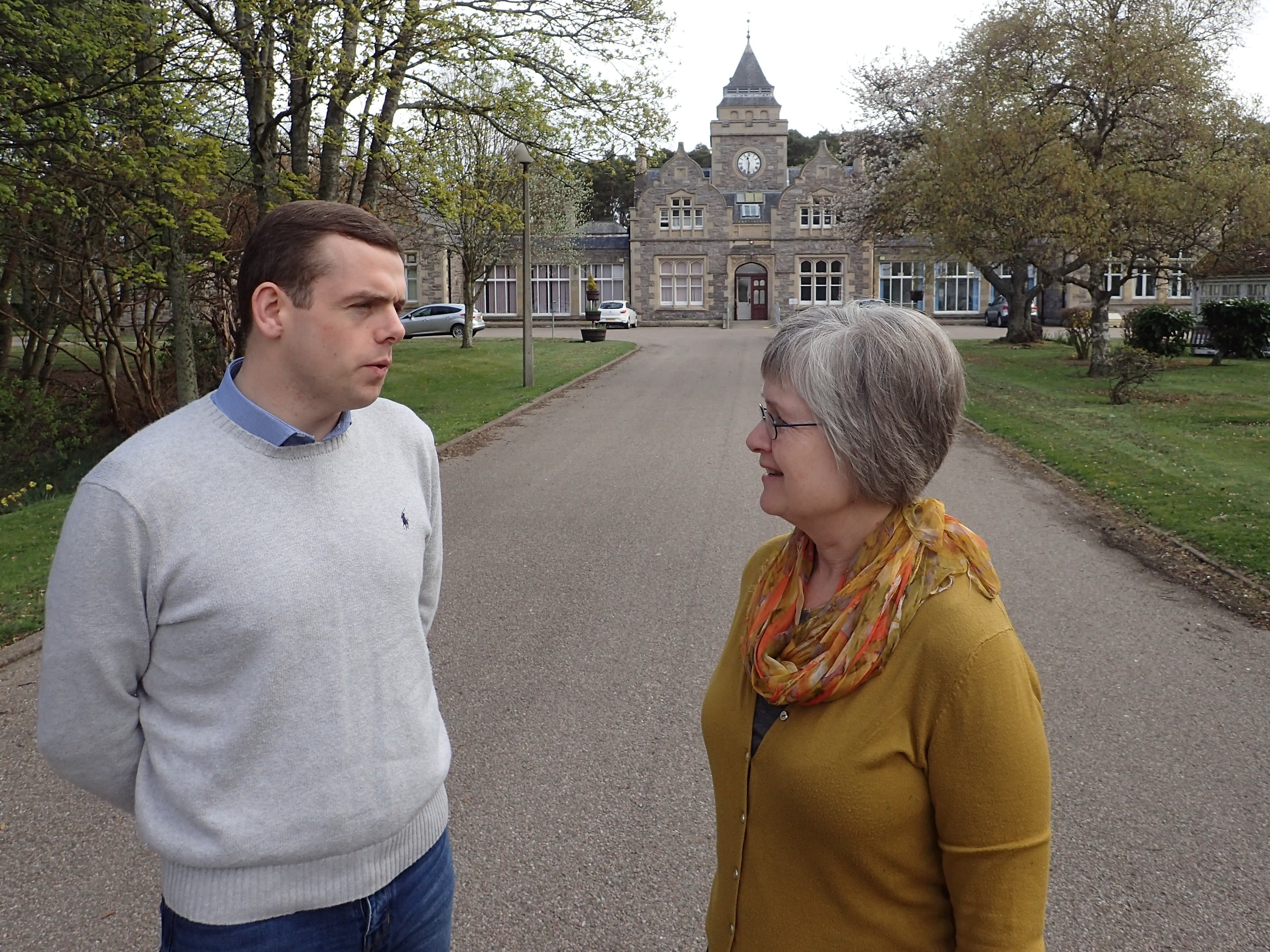 Moray MP Douglas Ross and Forres councillor Claire Feaver outside Leanchoil Hospital.
