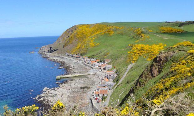 Crovie, the coastal village on the cliffs.       Picture: Sandy Stott.