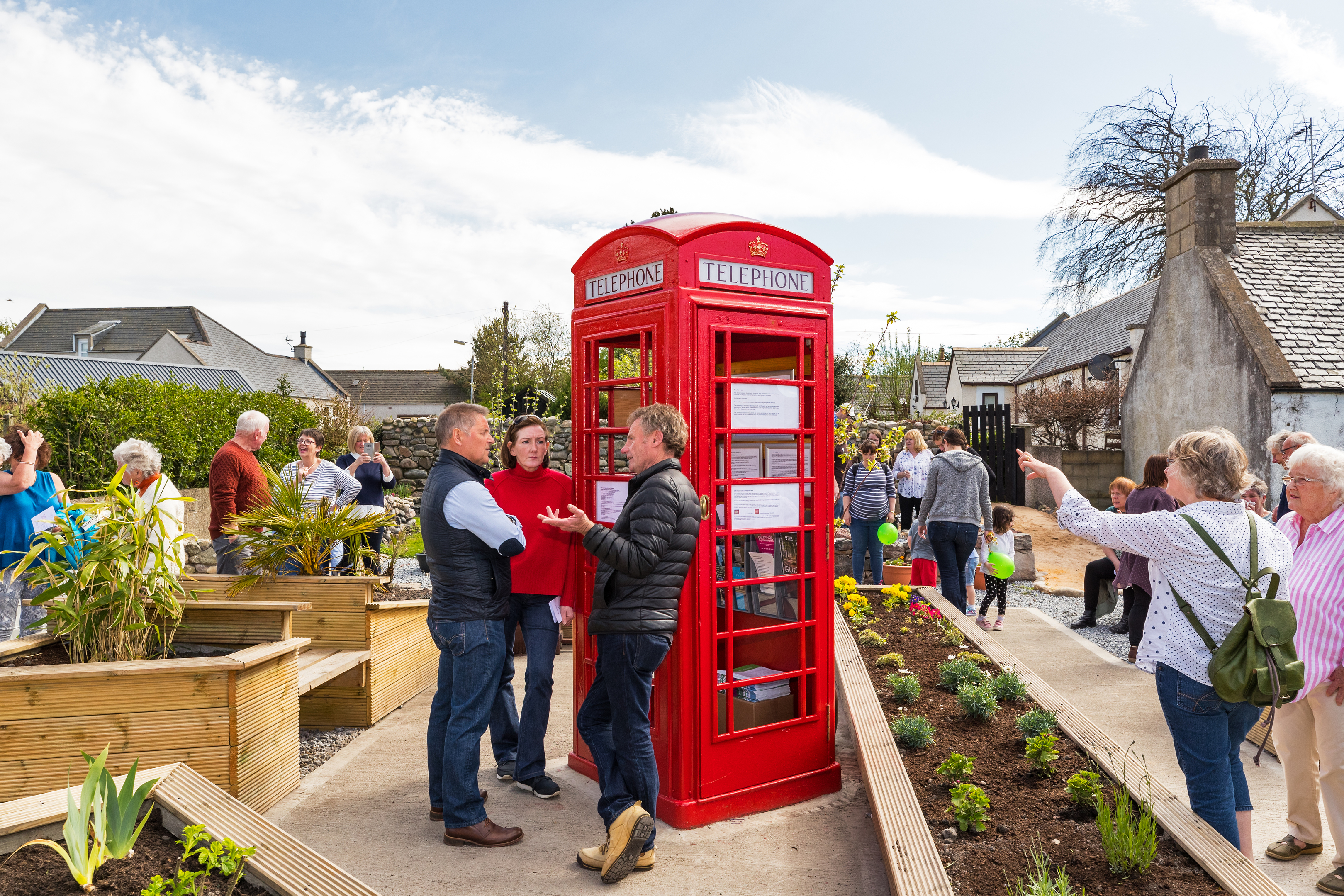 The opening ceremony of the Barren plot of rubble in Garmouth is transformed into sensory garden in village with beach and distillery themes.