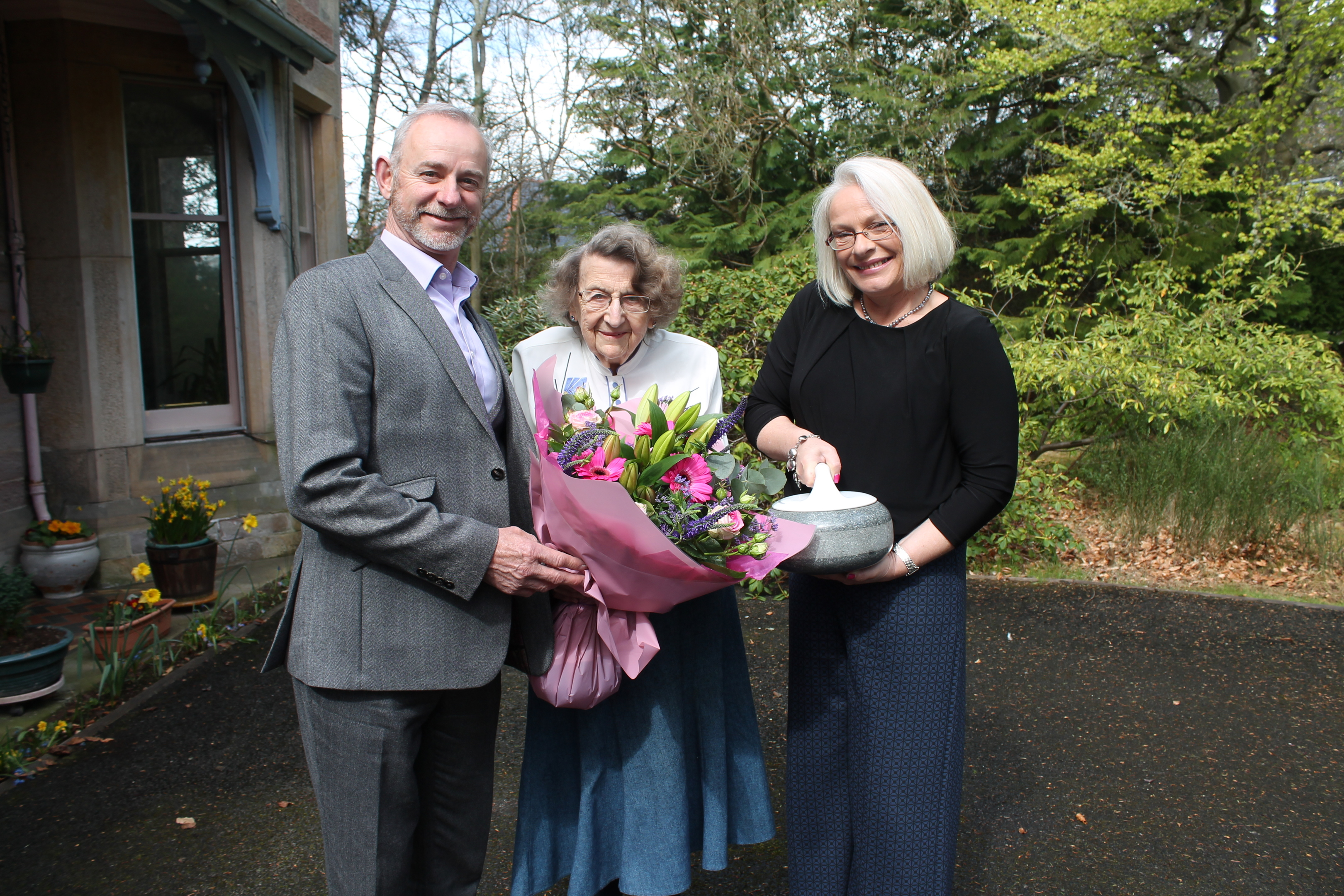 Chair of Inverness Ice Centre, Tom Pendreigh, Mrs Dorothy Hadley, and Inverness Ice Centre's commercial manager, Jane Fraser.
