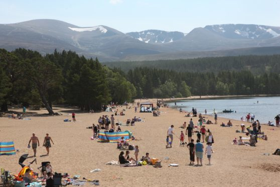 The beach at Loch Morlich near Aviemore, which was one of the hottest places in Scotland in May.