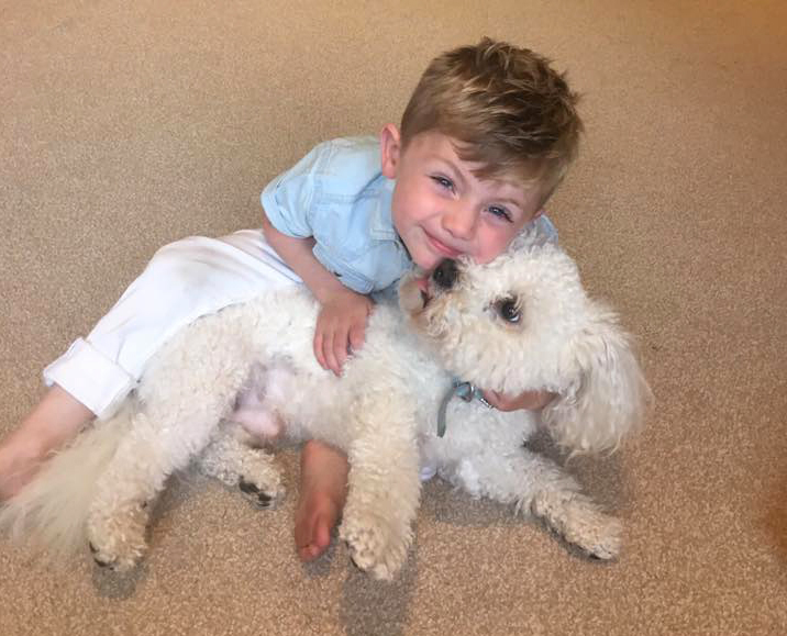 Victoria Duffy's son Mason with his beloved pet Otto.
