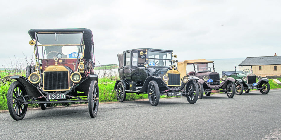 Members of Ford Model T Register Club currently touring in Scotland and pictured in Banff, Aberdeenshire.    Picture by Jason Hedges.