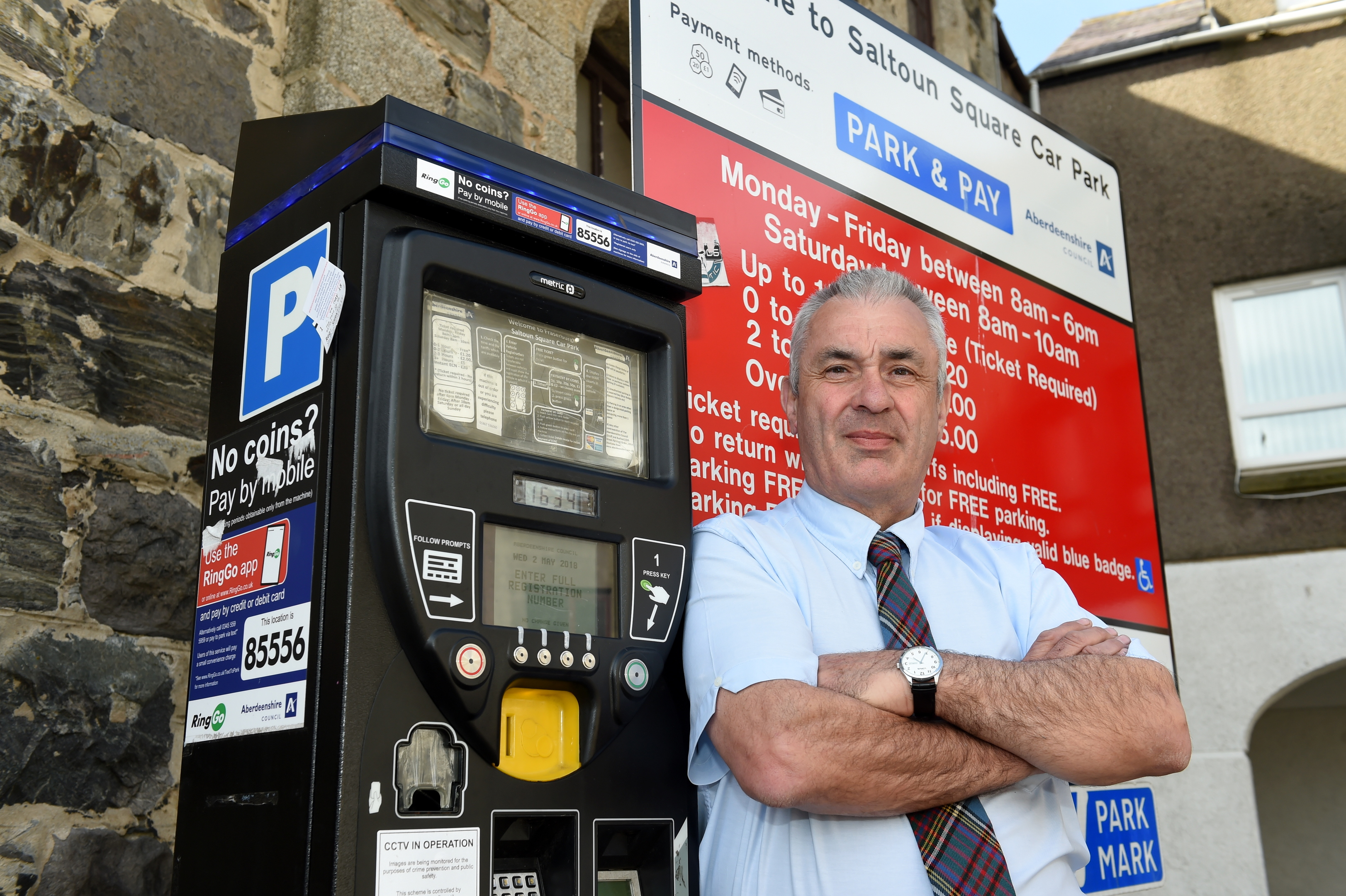 Puplic parking charges could double in Aberdeenshire. Picture of Brian Topping at Saltoun Square car park, Fraserburgh.  Picture by Kenny Elrick.