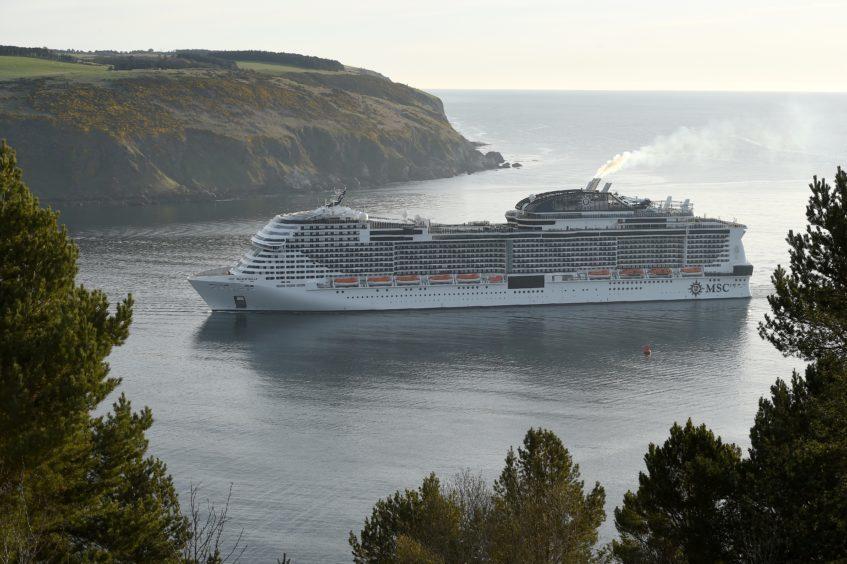 MSC Meraviglia arrives in the Cromarty Firth.