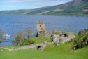 Urquhart Castle on the shore of Loch Ness.