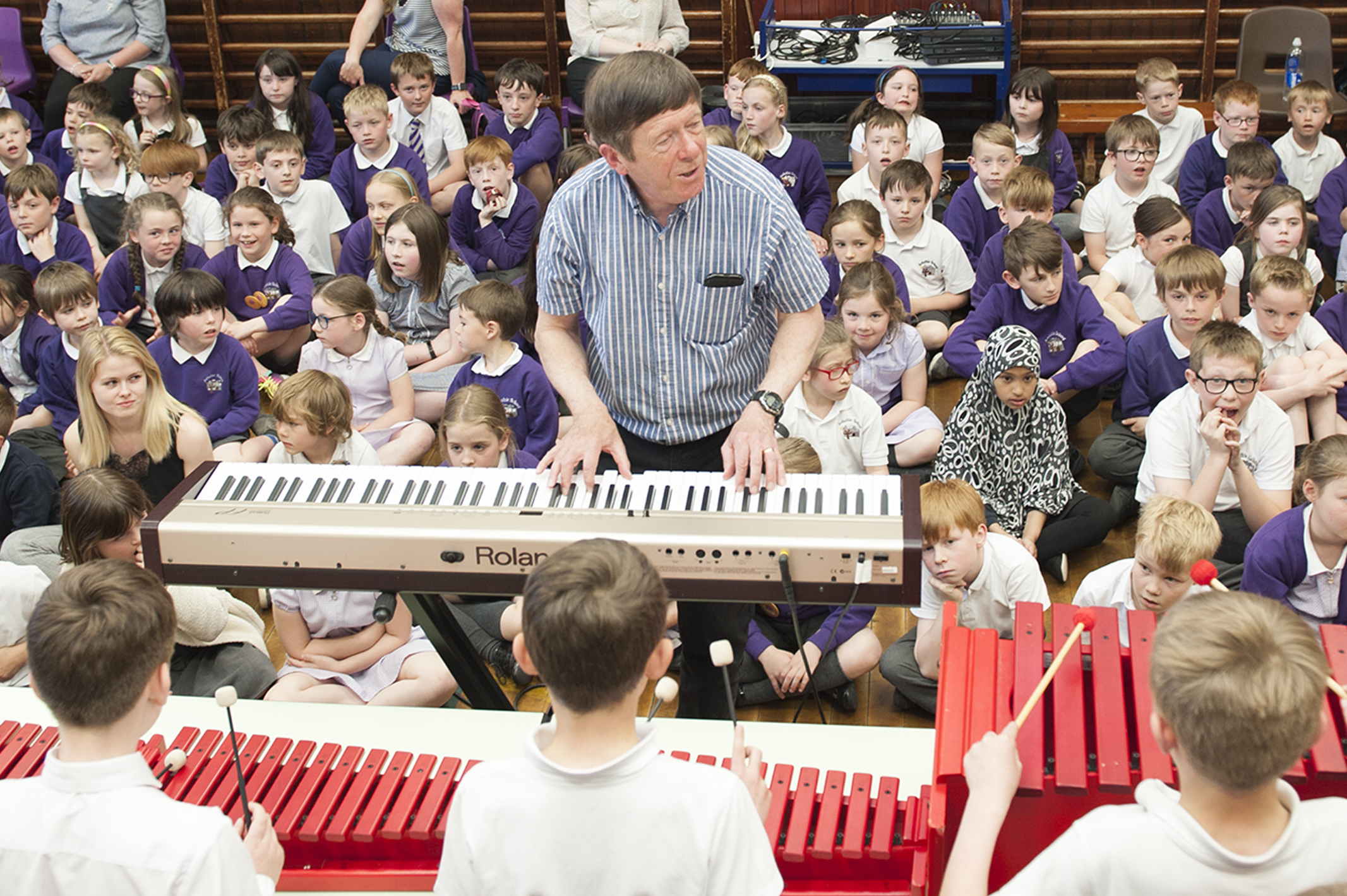 Richard Micheal is giving Jazz lessons to pupils at Arduthie School Stonehaven Picture shows,Richard Michael , 16 May 2018