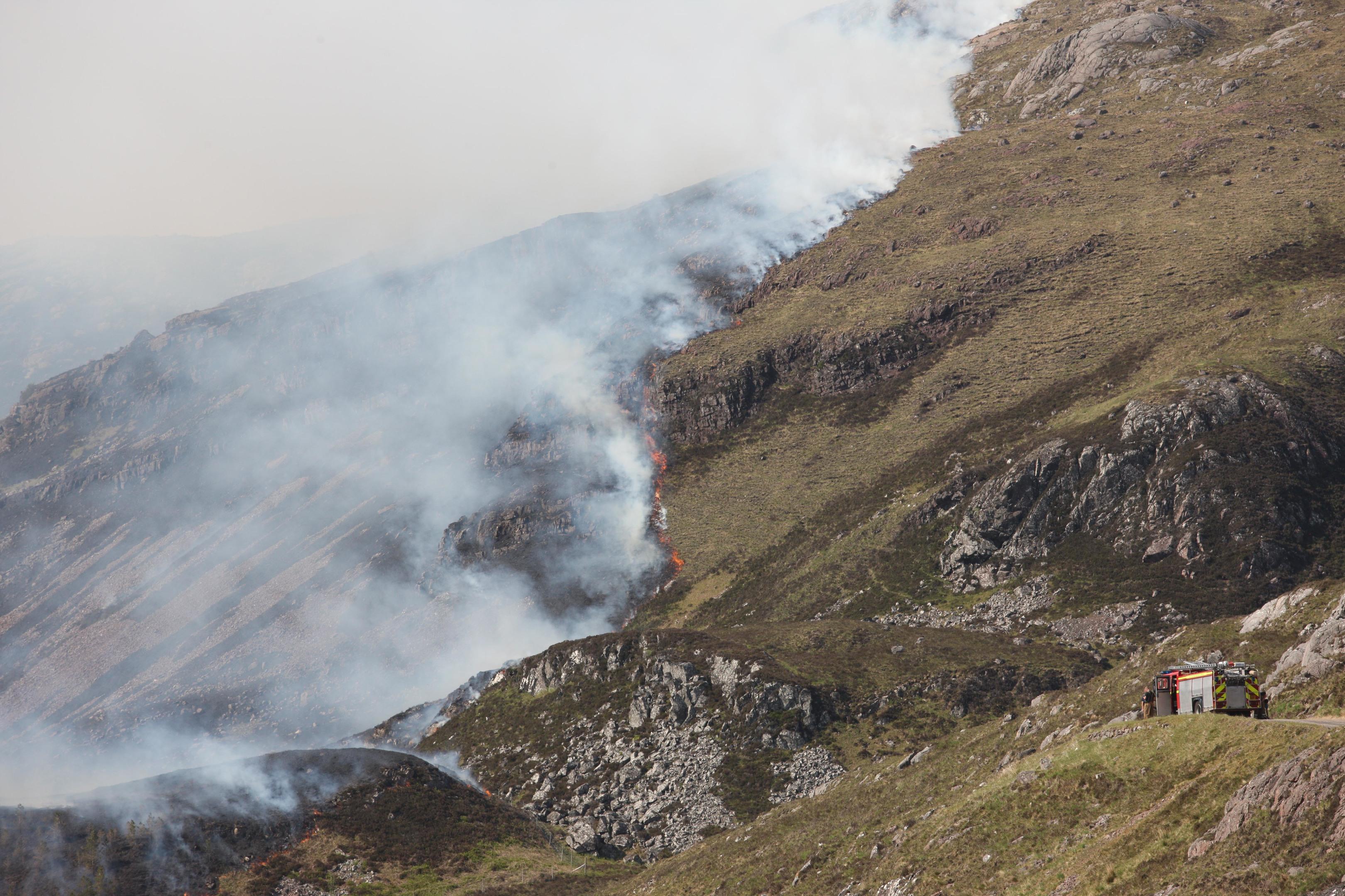 Hill fire at Diabeg near Torridon....pic Peter Jolly