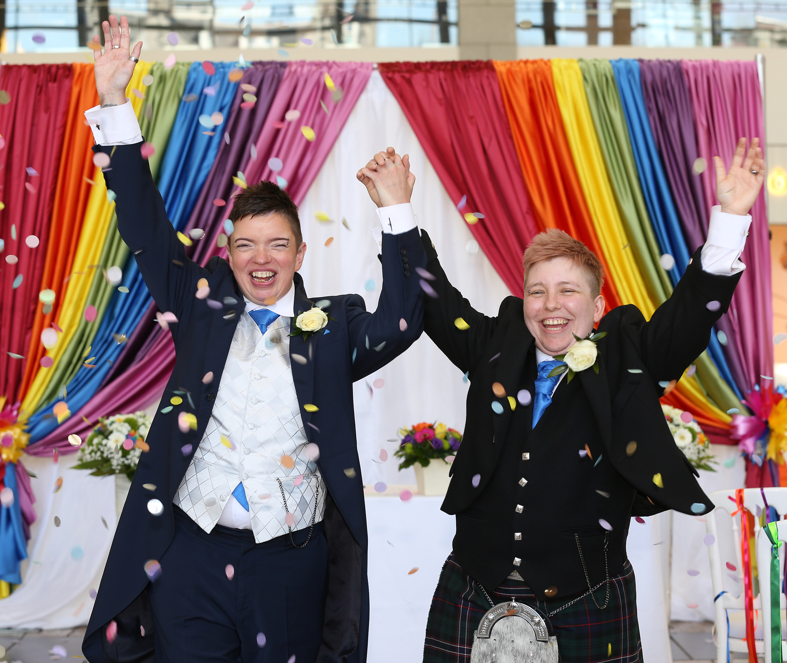 Couple Nydine Park and Joy McIntosh get married at Union Square shopping mall in Aberdeen in celebration of Grampian Pride. Picture by Simon Price/Firstpix