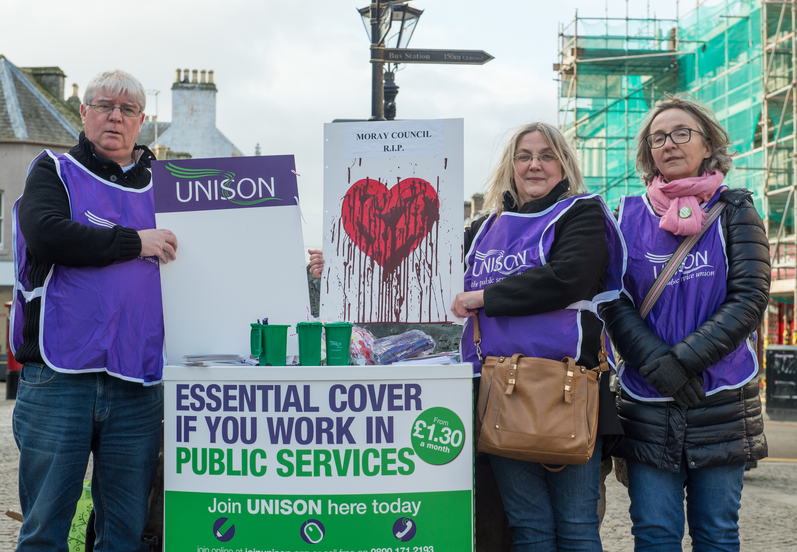 Moray Unison opposed cuts agreed at this year's budget. Pictured: member Tony Donaghey, branch secretary Suzanne Wright and member Eilidh Macleod.