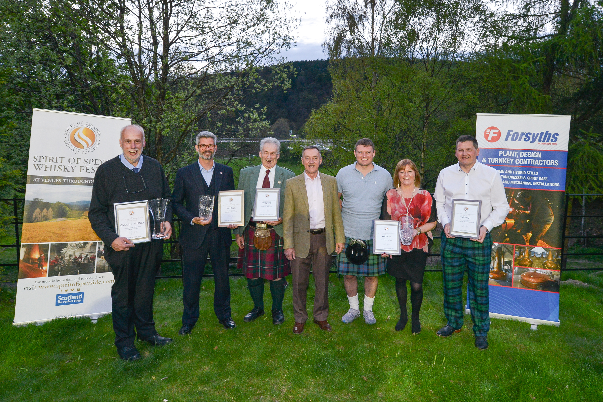 Spirit of Speyside Whisky Festival whisky award winners line up to receive awards. Pictured: Kevin Innes, Cragganmore; Mark Thompson, Glenfiddich; Ed Dodson, Glen Moray, James Campbell, chairman of Spirit of Speyside Whisky Festival, Richard Forsyth of award sponsors Forsyths, Caroline Mitchell, Strathisla and Graham Coull, Glen Moray.