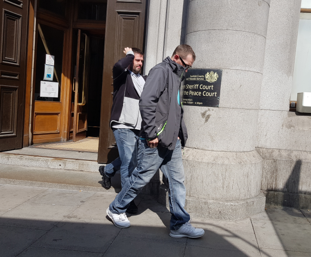 Mack, left, and Mcleod, right, leaving Aberdeen Sheriff Court yesterday