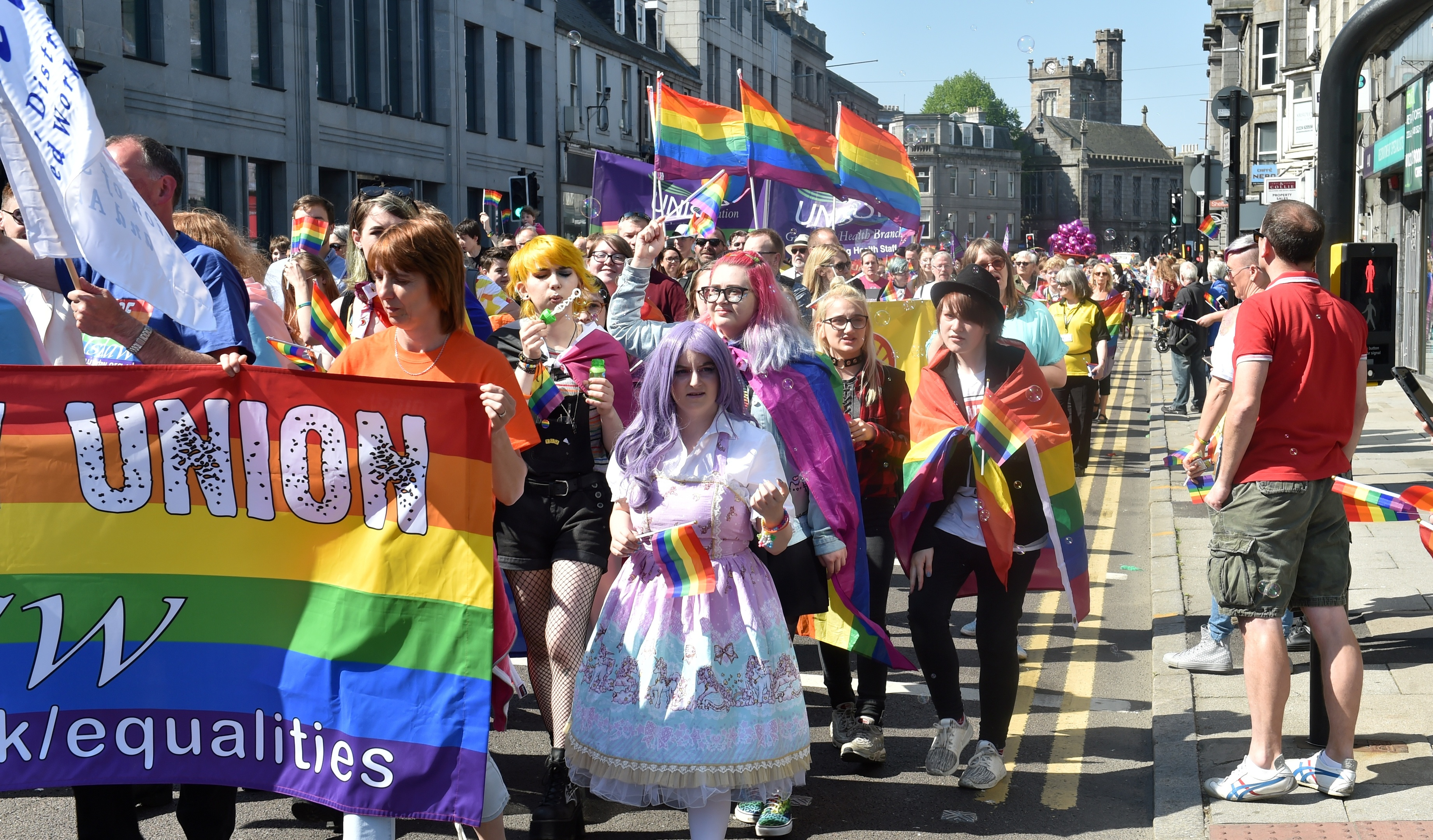 Grampian Pride marched down Union Street in Aberdeen. Picture by Colin Rennie
