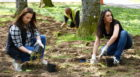 The MISS charity planting daffodil bulbs at Hazlehead Park, Aberdeen with the help of councillor Claire Inrie and the council.