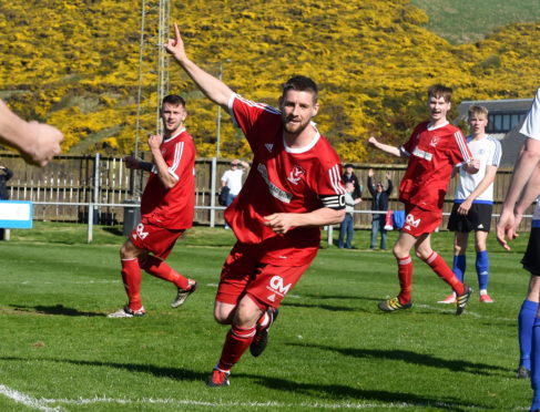 Graeme Watt celebrates scoring against Nairn County in April.