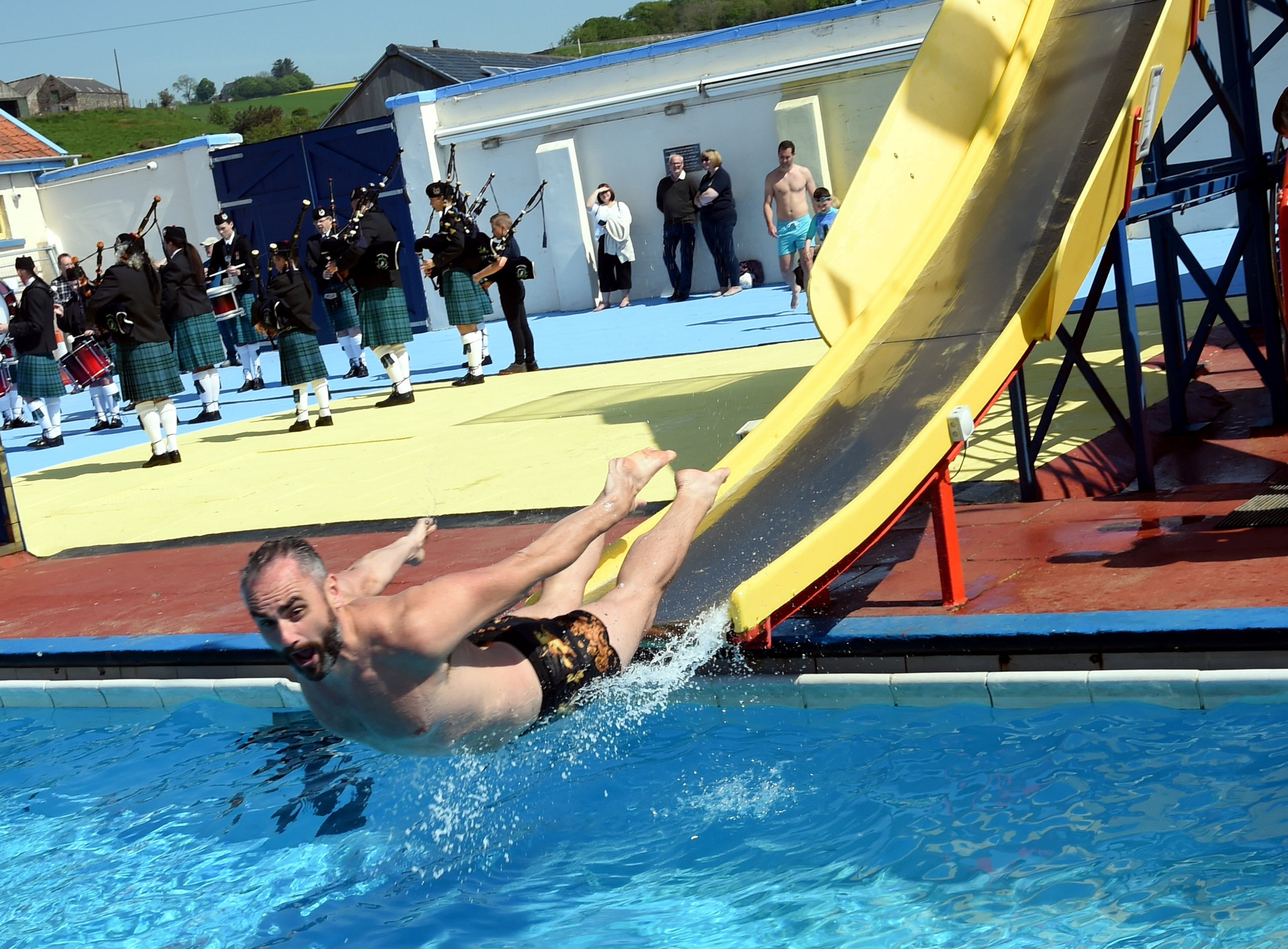 The opening day of the outdoor swimming pool at Stonehaven. In the picture is John Dickson having fun on the chute.  Picture by Jim Irvine  26-5-18
