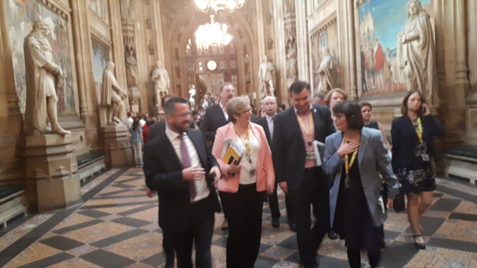 SNP walking out of PMQs.