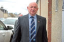 Highland League Management Committee Meeting at Lossiemouth FC Social Club.  Dennis Bridgeford, Highland League President, arriving.  Picture by Gordon Lennox 20/04/2017