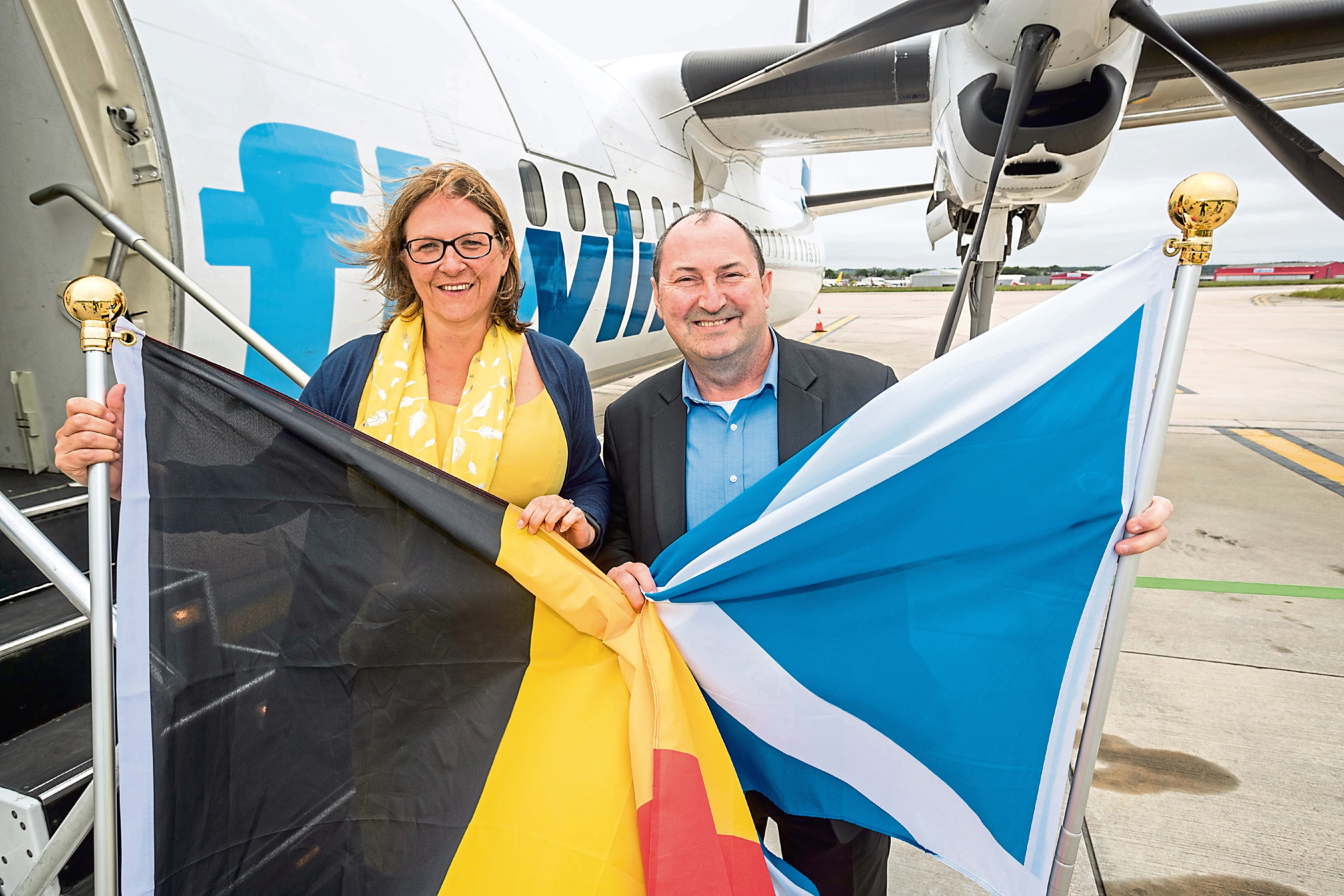 Aberdeen International Airport chief executive Carol Benzie with VLM chief information officer John Hughes, launching the Aberdeen to Antwerp route in June.